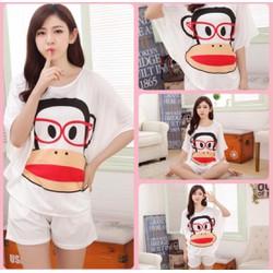 Bộ đồ short bận nhà nữ thời trang, họa tiết chú khỉ đáng yêu-BN153