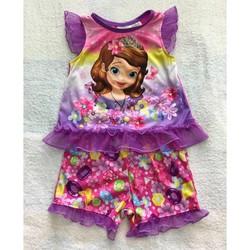 Bộ quần áo bé gái in hình công chúa mặc mùa hè, hàng Mỹ xách tay