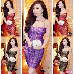 Đầm body cúp ngực ren ánh kim phối xích Bella VN211