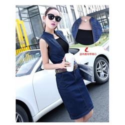 Set đầm jean kèm áo cao cấp - LV1169 - GS190