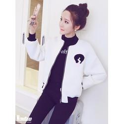 2 Màu - Áo khoác kiểu Hàn Quốc thêu hình cá tính - 5534