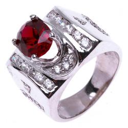 Nhẫn nam bạc Thao Linh Jewelry gắn đá ruby