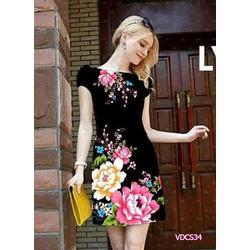 Đầm suông in hoa  Mẫu Đơn 3D VDCS34