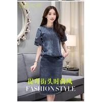 Hàng cao cấp - Set bộ áo váy thun giả jeans KL27116