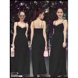 Đầm Maxi 2 Dây Viền Màu Xinh Như Ngọc Trinh - Đen