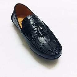 Giày mọi da bò vân cá sấu đen sang trọng