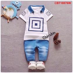 Bộ quần jean áo thun hình 3 ô vuôn nhỏ cực yêu từ 1-8 tuổi_CBT18876Y