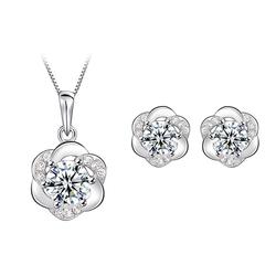 Bộ trang sức bạc mặt trời đính kim cương S041