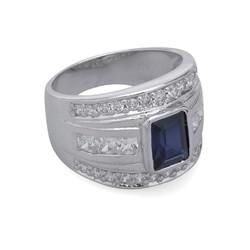 Nhẫn nam bạc Thao Linh Jewelry gắn đá Sapphire