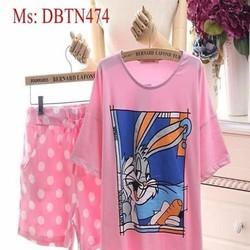 Đồ mặc nhà ngắn tay hình chú thỏ và quần chấm bi DBTN474