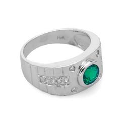 Nhẫn nam bạc gắn đá xanh lục