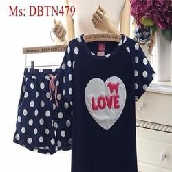 Đồ mặc nhà nữ ngắn tay love pink và quần short chấm bi DBTN479