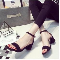 Giày sandal đế vuông 5 phân quai ngang da lộn