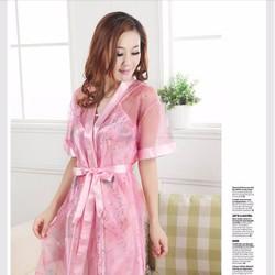 Đầm ngủ kèm áo khoác chất liệu satin, lưới cao cấp vnc10553 - 145