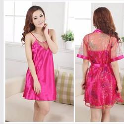 Đầm ngủ kèm áo khoác chất liệu satin, lưới cao cấp VNC10553a