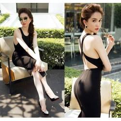 Đầm đen hở lưng đẹp thiết kế ôm body đơn giản như Ngọc Trinh M780