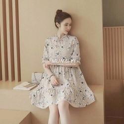 HÀNG CAO CẤP LOẠI I - Đầm xòe voan cổ cao tay lửng họa tiết Hoa