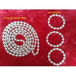 Bộ dây chuyền ,vòng tay 3 vòng ngọc trai sang trọng quý phái