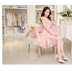 Đầm xòe ren tay con phối lưới màu hồng DX351