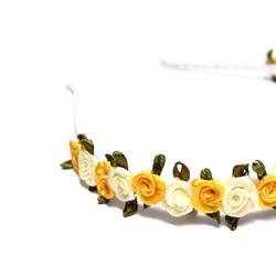 Cài tóc handmade hoa hồng màu vàng HA0073
