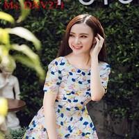 Đầm xòe ngắn tay vải cánh hoa màu xinh đẹp DXV271