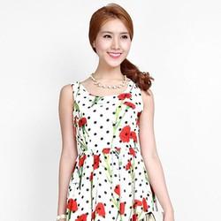 Đầm xoè chấm bi dễ thương