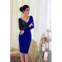 Đầm ôm body xanh phối ren tay dài D554