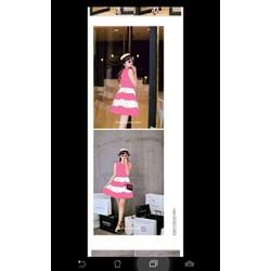 Đầm xoè thiết kế phối sọc phong cách công chúa