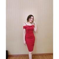 Đầm body bẹt vai nơ