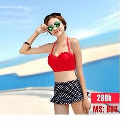 Đồ bơi nữ, bộ Bikini cao cấp áo đỏ quần chấm bi