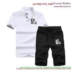 Bộ đồ thể thao nam AF quần short áo cổ trụ sành điệu