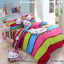 Bộ chăn ga gối mèo kitty sắc màu NBB13