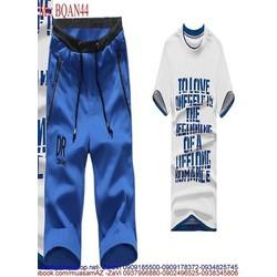 View  Bộ thể thao nam áo ngắn tay in chữ và quần lửng phong cách