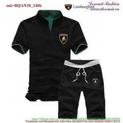 Bộ thể thao nam Lambo quần short áo cổ trụ sành điệu