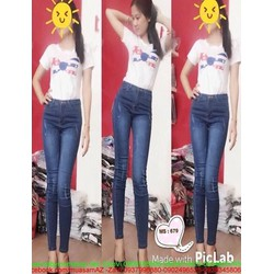 Quần jean nữ lưng cao kiểu lật da sước nhẹ cá tính