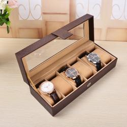 Hộp đựng đồng hồ loại 6 chiếc, nâu sần