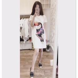 HÀNG LOẠI I CAO CẤP - Đầm suông cổ tròn tay con họa tiết Chim Két