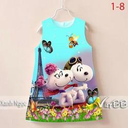 Đầm sát nách in 3D hình chú chó Snoopy dễ thương - size 1-8