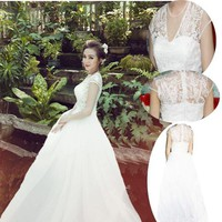 Đầm cô dâu ren hoa nổi tay con Kelly váy lưới trắng tinh khôi DCE1