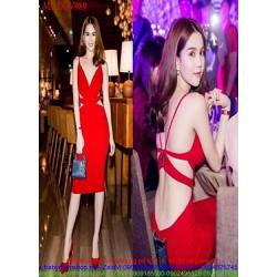 Đầm body dự tiệc xẻ cổ V đan dây lưng sành điệu sexy DOV989