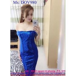 Đầm body dự tiệc cúp ngực phối kim sa xanh nổi bật sành điệu DOV980