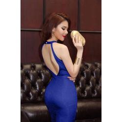 Đầm Dự Tiệc Kim Tuyến Cổ Yếm Hở Lưng X3D142X