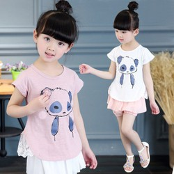 Bộ đồ in hình gấu trúc xinh xắn nổi bật bé gái 2 - 7 tuổi