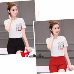 MTL - Set áo phối túi sọc+quần short