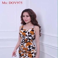 Đầm ôm 2 dây họa tiết hoa nổi bật và thời trang DOV975