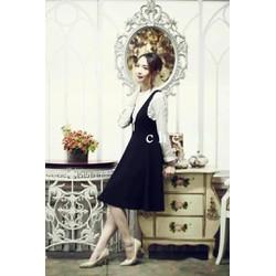 Váy xòe yếm công sở bồng bềnh nữ tính