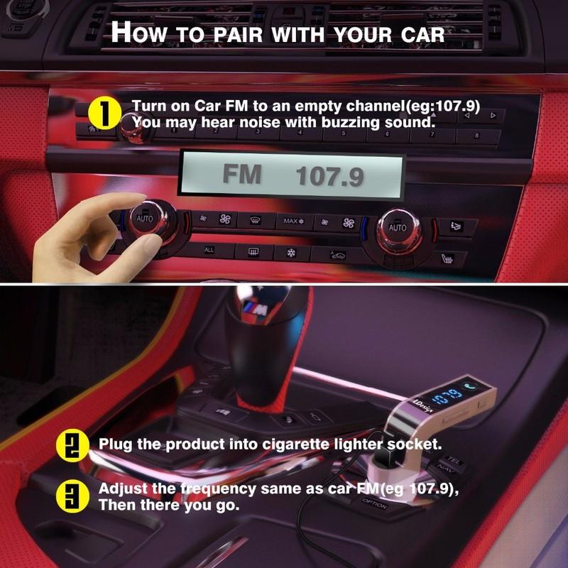 TẨU SẠC MP3 Bluetooth 5 trong 1 cho ô tô Car G7 8