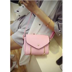 Túi xách nữ đẹp da mềm viền kim loại cách điệu màu hồng phấn