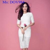 Đầm body dự tiệc dài tay vải ren trắng sang trọng DOV984