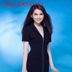Đầm body cổ bẻ vest thiết kế kéo khóa sành điệu xinh đẹp DOV961